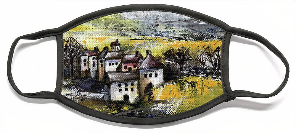 Landscape Face Mask featuring the painting The pink house by Aniko Hencz