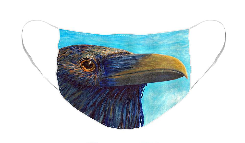 Raven Face Mask featuring the painting The Prophet by Brian Commerford