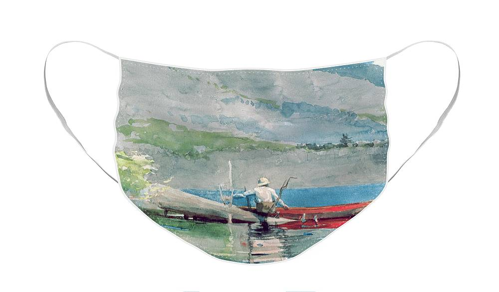 The Red Canoe Face Mask featuring the painting The Red Canoe by Winslow Homer