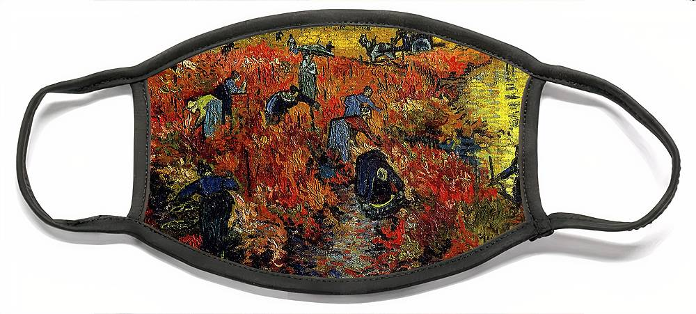 Van Gogh Face Mask featuring the painting The Red Vineyard At Arles by Van Gogh