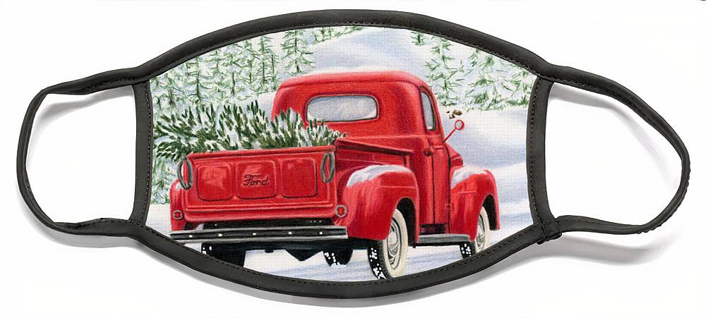 Christmas Truck Face Mask featuring the painting The Road Home by Sarah Batalka