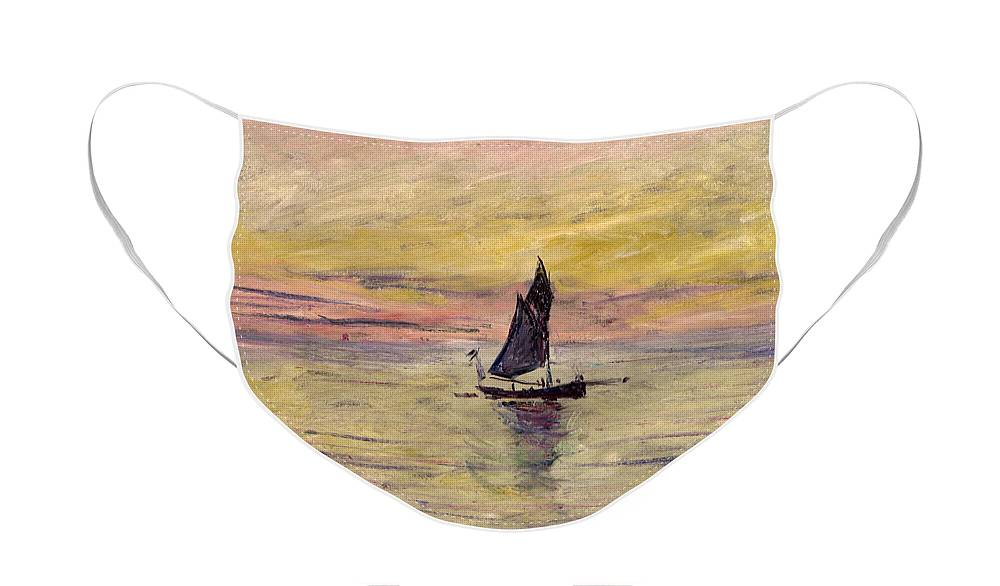 French Face Mask featuring the painting The Sailing Boat Evening Effect by Claude Monet