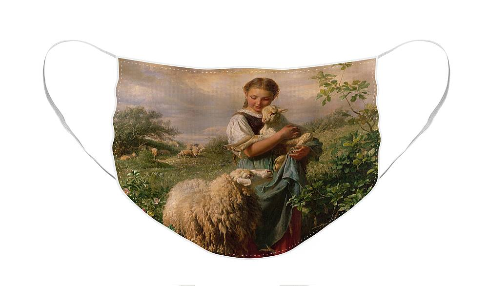 Shepherdess Face Mask featuring the painting The Shepherdess by Johann Baptist Hofner
