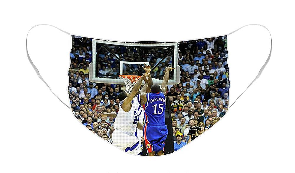 3.1 Seconds On The Shot Clock Face Mask featuring the photograph The shot, 3.1 seconds, Mario Chalmers magic, Kansas Basketball 2008 NCAA championship by Thomas Pollart