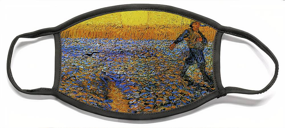 Vincent Van Gogh Face Mask featuring the painting The Sower by Van Gogh