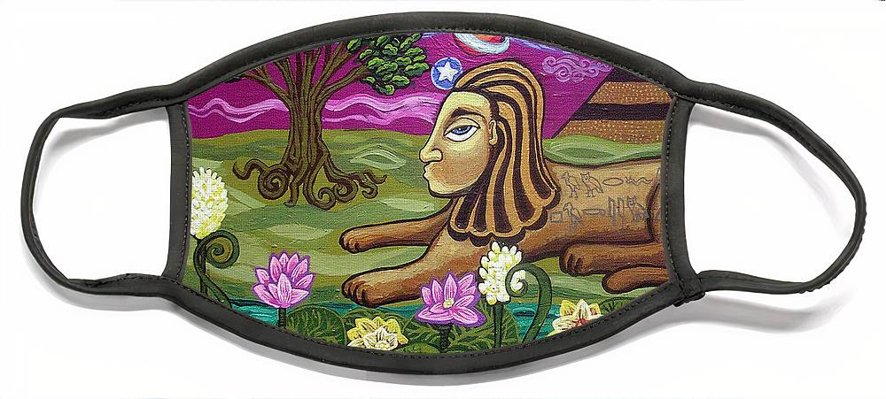 Egypt Face Mask featuring the painting The Sphinx by Genevieve Esson