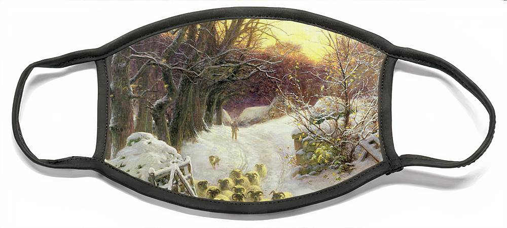 Sunset Face Mask featuring the painting The Sun Had Closed the Winter's Day by Joseph Farquharson