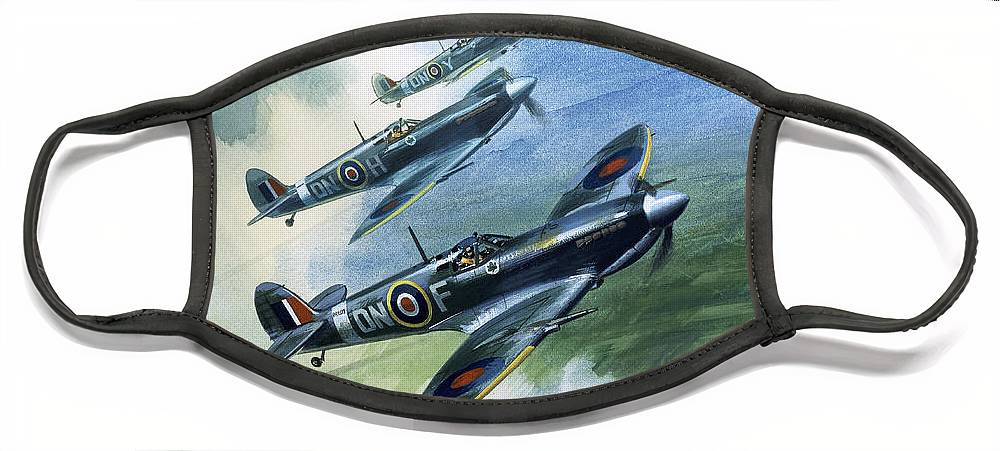 The Face Mask featuring the painting The Supermarine Spitfire Mark IX by Wilfred Hardy
