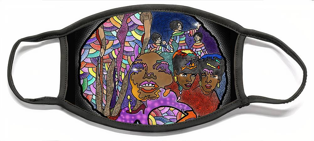 The Supremes Face Mask featuring the digital art The Supreme Beings by Marconi Calindas
