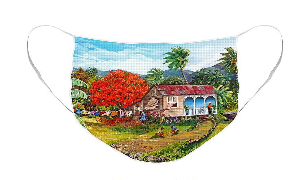 Tropical Scene Caribbean Scene Face Mask featuring the painting The Sweet Life by Karin Dawn Kelshall- Best