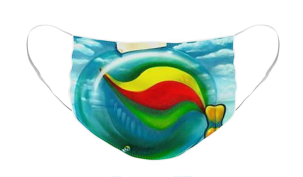 Marbles Face Mask featuring the painting The Transparency Of A Tsunami On The Verge Of Destruction by Roger Calle