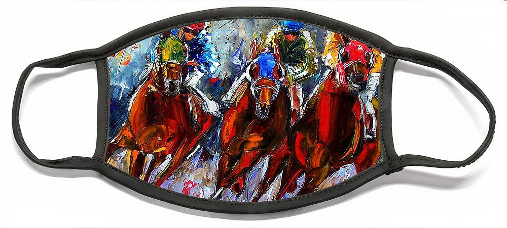 Horses Face Mask featuring the painting The Turn 2 by Debra Hurd