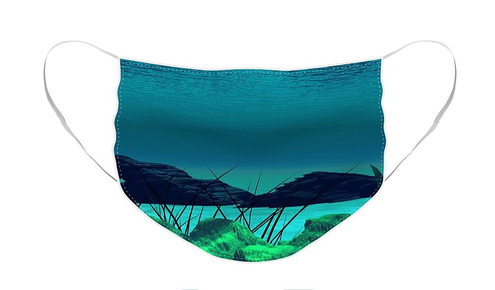 Fantasy Face Mask featuring the digital art The wreck Diving the reef series by David Lane