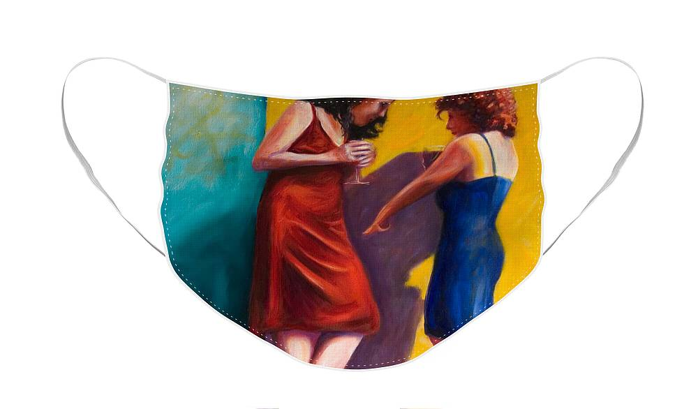Figurative Face Mask featuring the painting There by Shannon Grissom