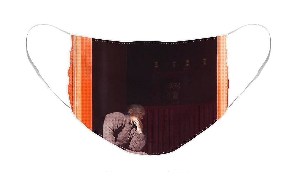 China Face Mask featuring the photograph Thinking Monk by Sebastian Musial