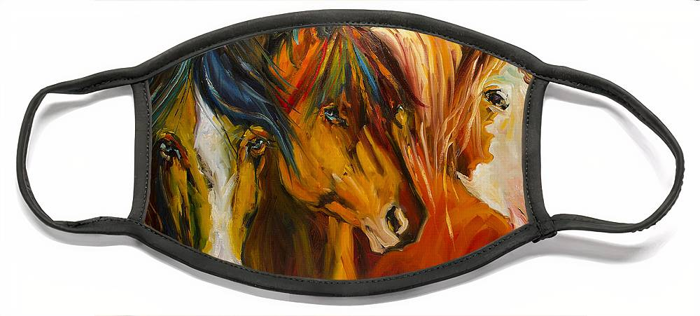 Horse Face Mask featuring the painting Three at the Fence Line by Diane Whitehead