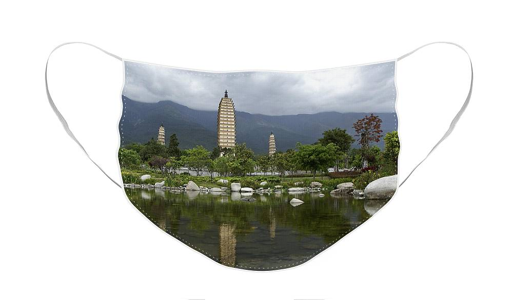 Asia Face Mask featuring the photograph Three Pagodas of Dali by Michele Burgess