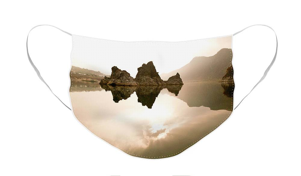 Asia Face Mask featuring the photograph Three Peaks by Michele Burgess