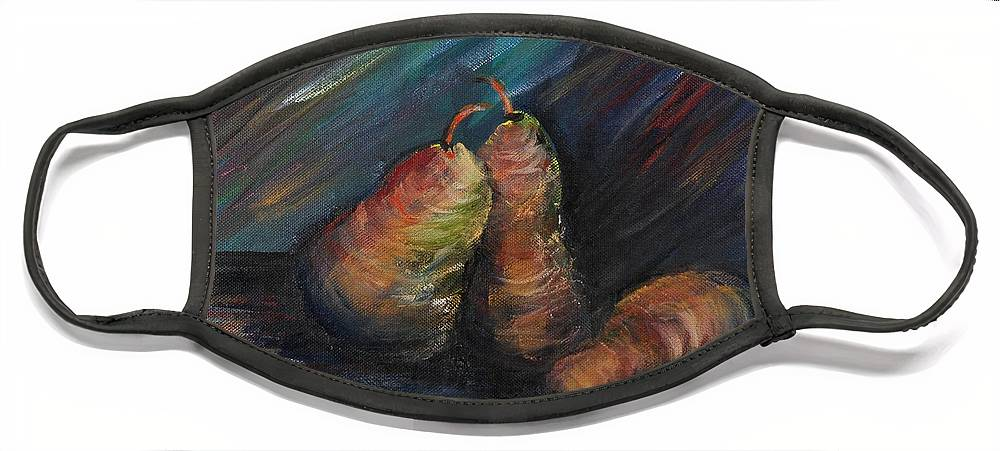 Pears Fruit Stilllife Blue Red Gold Orange Face Mask featuring the painting Three Pears by Nadine Rippelmeyer