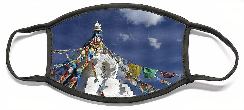 Asia Face Mask featuring the photograph Tibetan Stupa with Prayer Flags by Michele Burgess