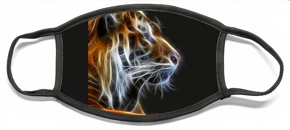 Tiger Face Mask featuring the photograph Tiger Fractal 2 by Shane Bechler