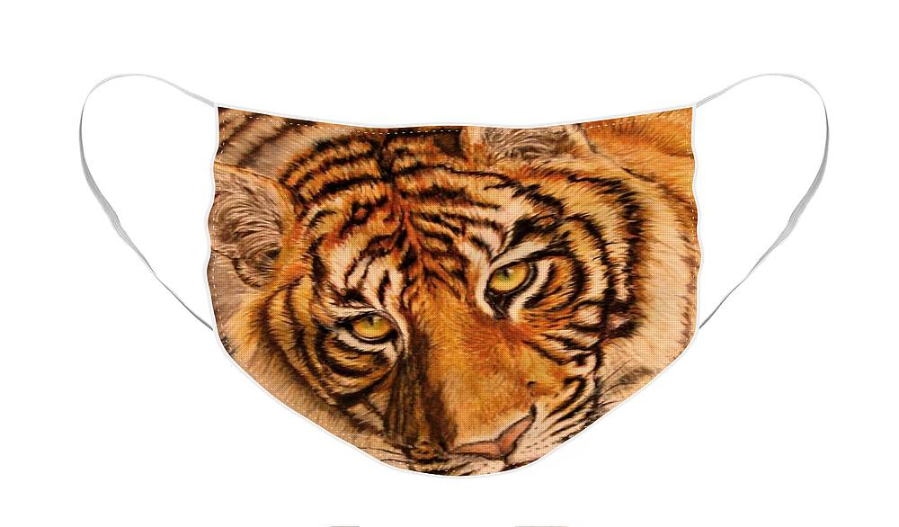 Tiger Face Mask featuring the drawing Tiger by Karen Ilari