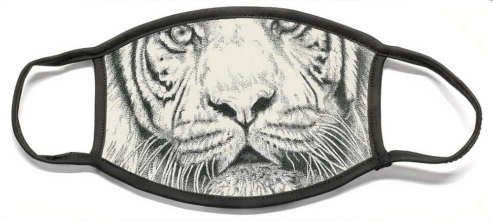 Tiger Face Mask featuring the drawing Tigerlily by Barbara Keith