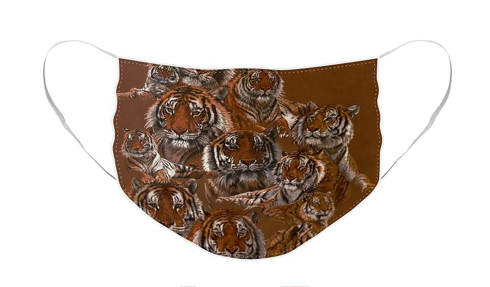 Tiger Face Mask featuring the drawing Tigers of Noah's Lost Ark Sanctuary by Barbara Keith