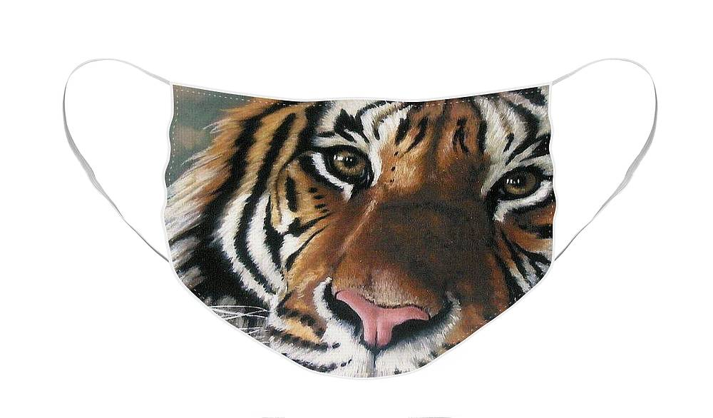 Tiger Face Mask featuring the pastel Tigger by Barbara Keith