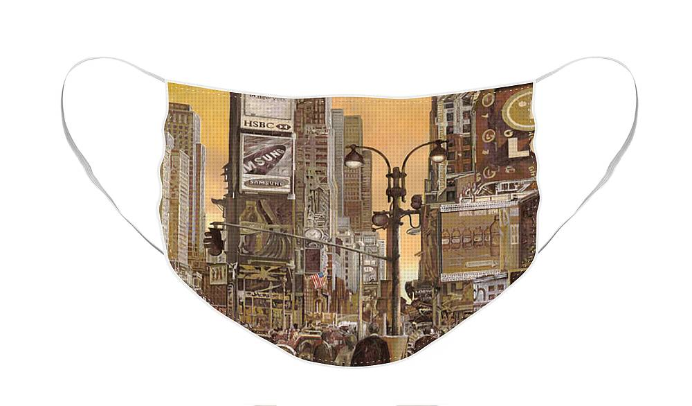 New York Face Mask featuring the painting Times Square by Guido Borelli