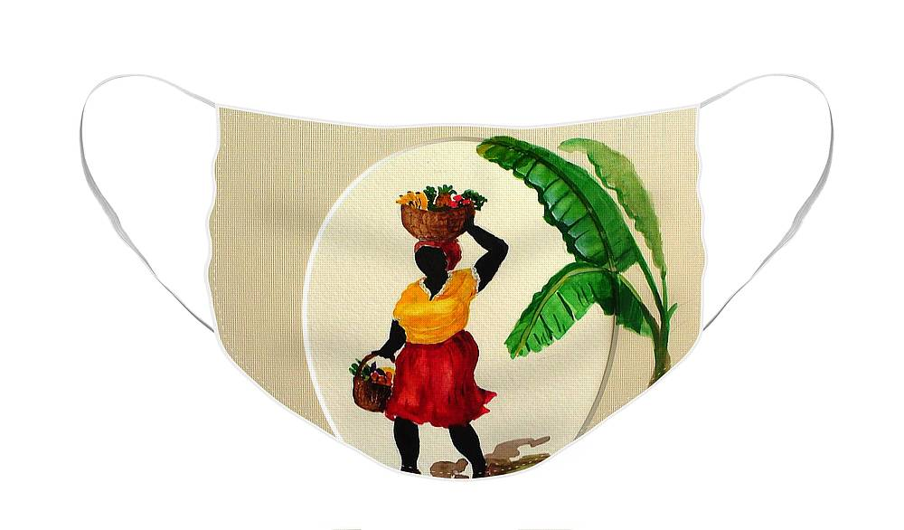 Caribbean Market Womanfruit & Veg Face Mask featuring the painting To market by Karin Dawn Kelshall- Best