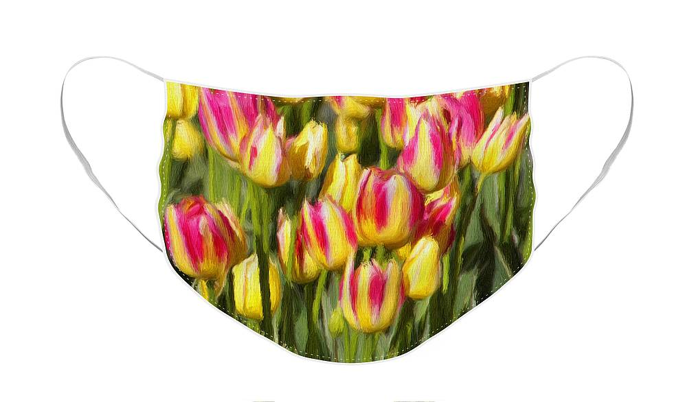 Tulips Face Mask featuring the painting Too Many Tulips by Jeffrey Kolker
