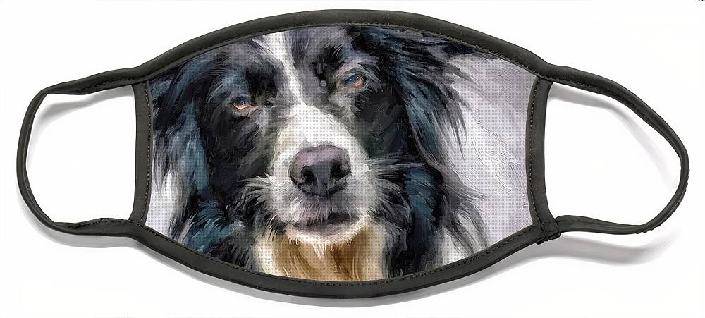 Border Collie Face Mask featuring the digital art Top Dog by Scott Waters