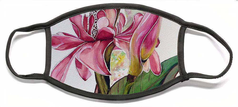 Flower Painting Floral Painting Botanical Painting Flowering Ginger. Face Mask featuring the painting Torch Ginger Lily by Karin Dawn Kelshall- Best