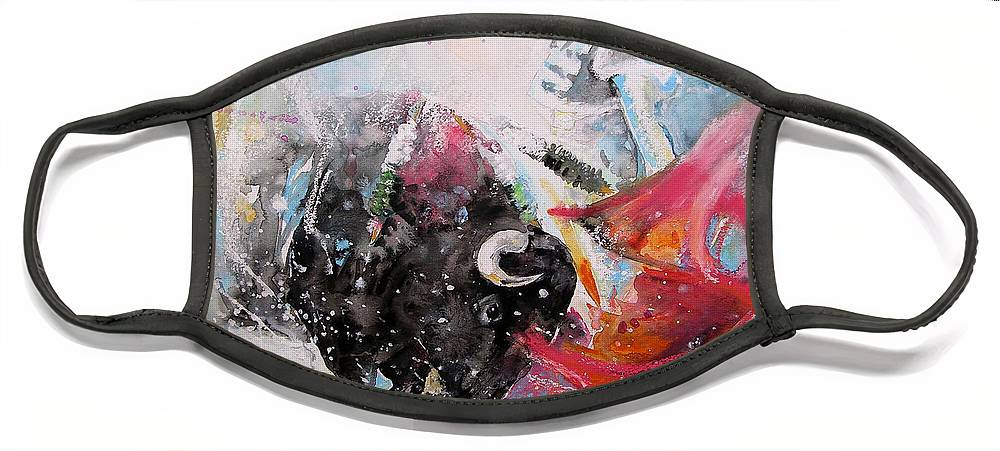 Animals Face Mask featuring the painting Toro Tempest by Miki De Goodaboom
