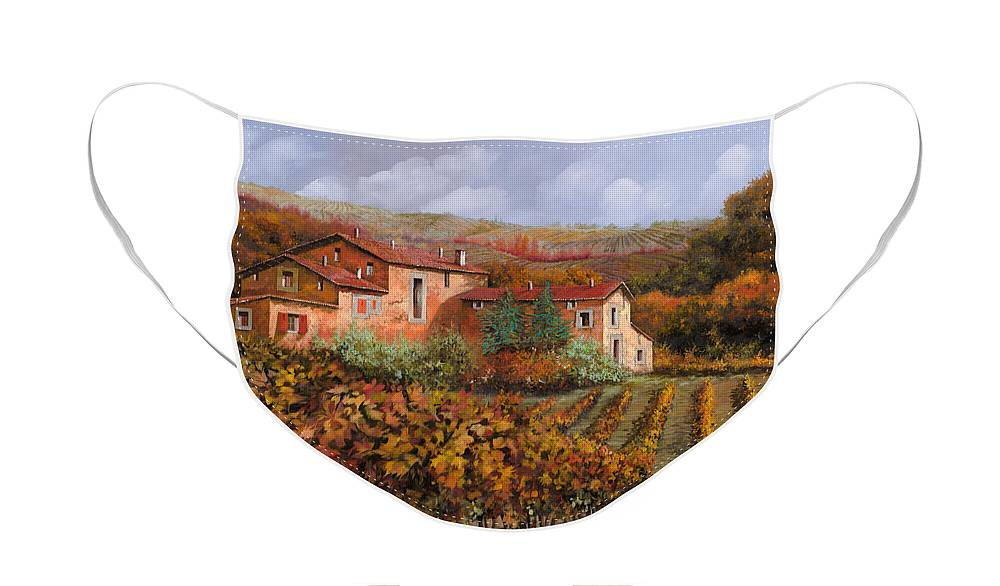 Wine Face Mask featuring the painting nelle vigne di Montalcino by Guido Borelli