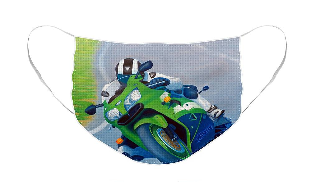 Motorcycle Face Mask featuring the painting Track Day - Kawasaki ZX9 by Brian Commerford