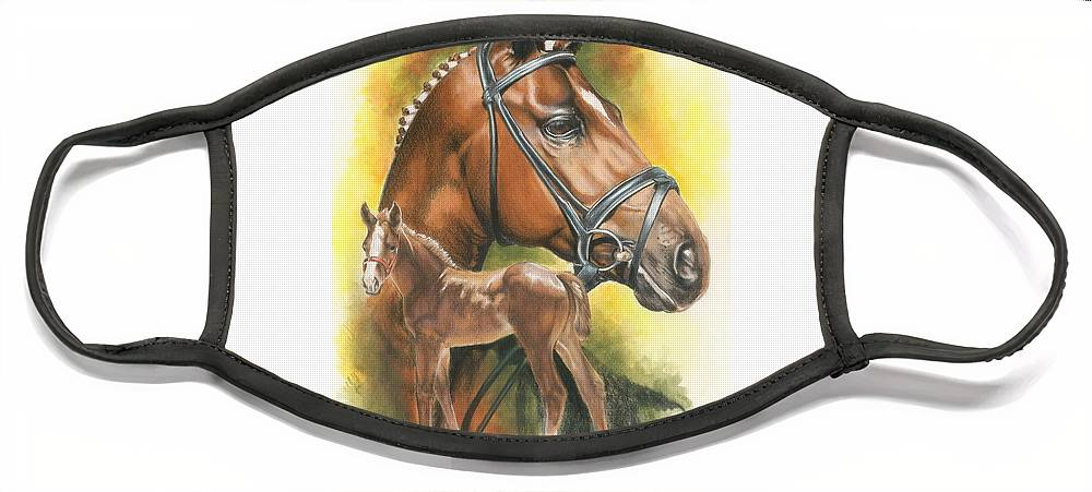 Jumper Hunter Face Mask featuring the mixed media Trakehner by Barbara Keith