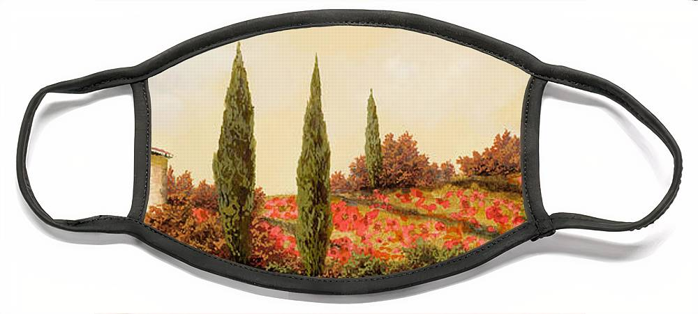 Landscape Face Mask featuring the painting Tre Case Tra I Papaveri Rossi by Guido Borelli