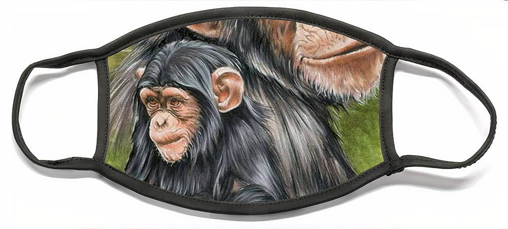 Chimpanzee Face Mask featuring the mixed media Treasure by Barbara Keith