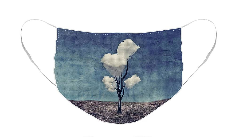 Tree Face Mask featuring the digital art Tree Clouds 01d2 by Aimelle