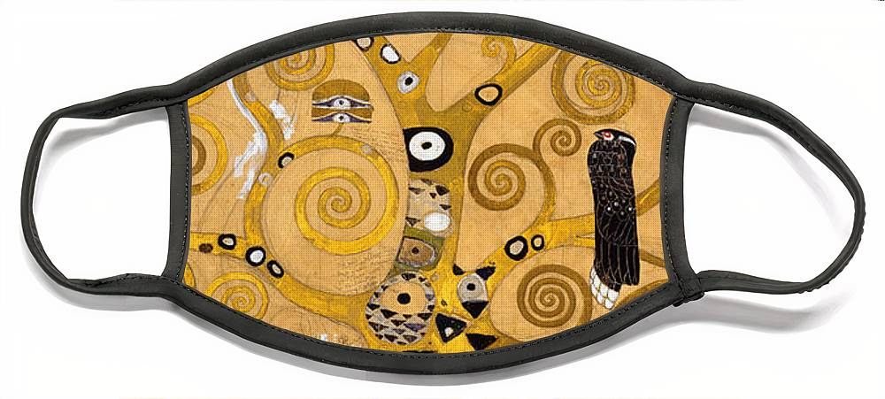 Klimt Face Mask featuring the painting Tree of Life by Gustav Klimt