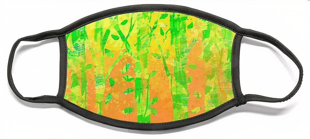 Abstract Face Mask featuring the digital art Trees in the Grass by William Russell Nowicki