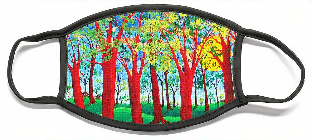 Rollin Kocsis Face Mask featuring the painting Trees of Red by Rollin Kocsis