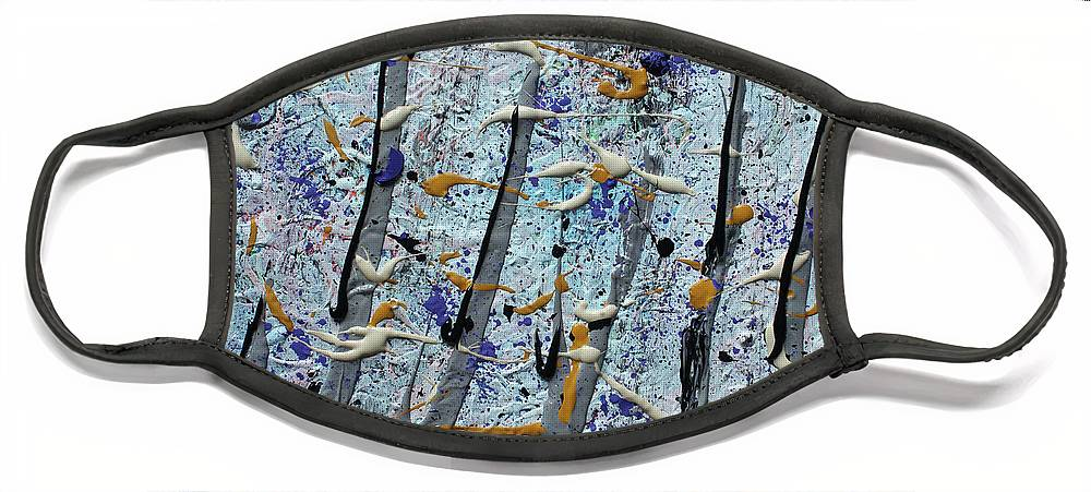 Colorado Face Mask featuring the painting Trees Thru White Out by Pam Roth O'Mara