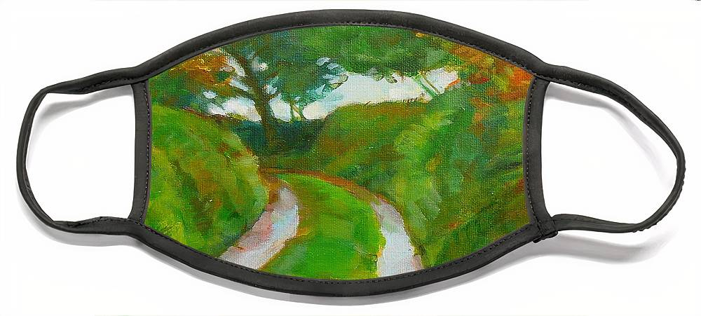Redruth Cornwall Landscape Face Mask featuring the painting Trefula Lane by Scott Waters