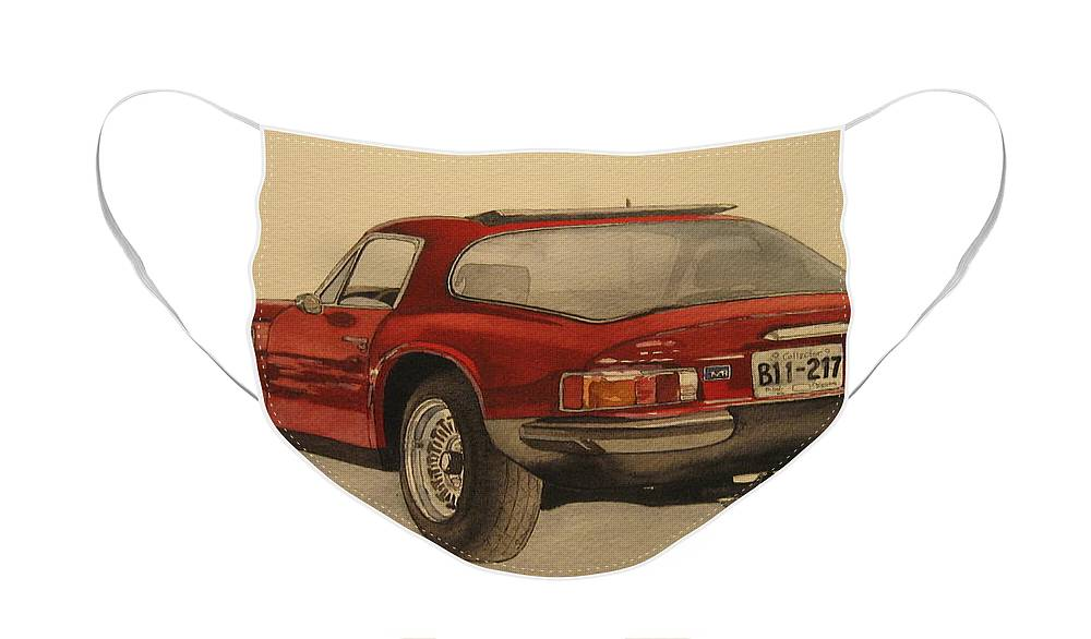 Car Face Mask featuring the painting Trevors TVR by Victoria Heryet