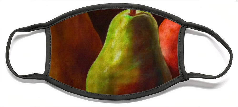 Fruit Face Mask featuring the painting Tri Pear by Shannon Grissom