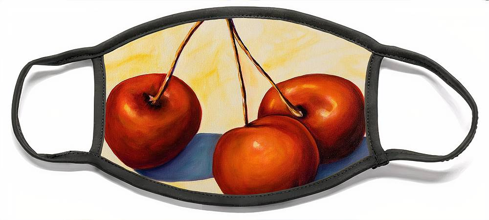Cherries Face Mask featuring the painting Trilogy by Shannon Grissom