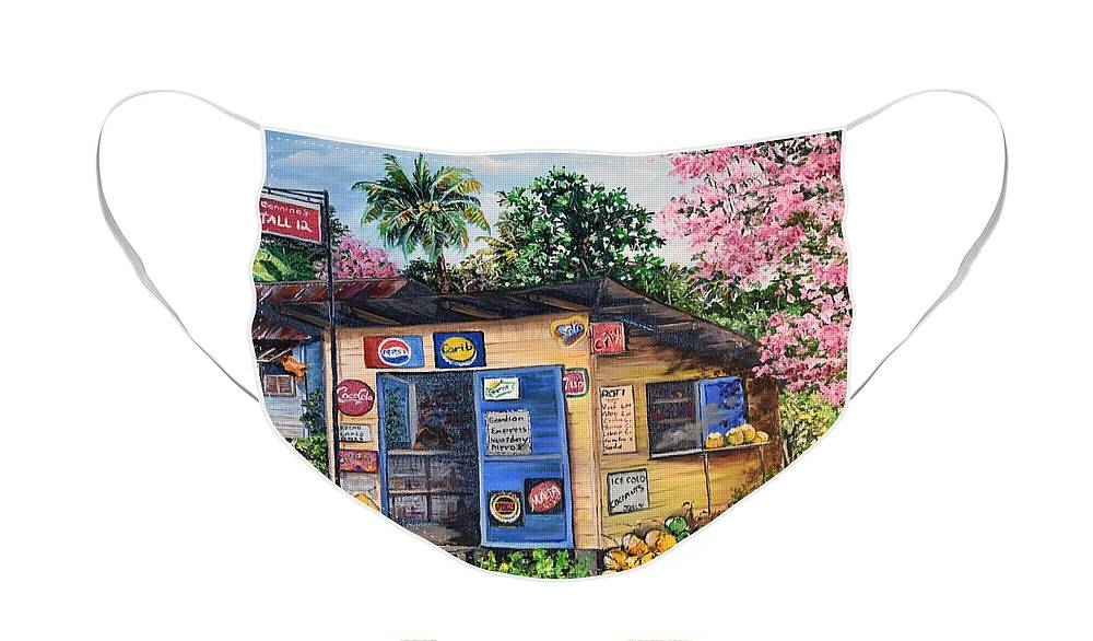Trinidad And Tobago Shop Face Mask featuring the painting Trinidad Country Parlour by Karin Dawn Kelshall- Best
